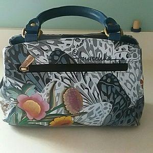 Anuschka purse handbag butterflies and flowers